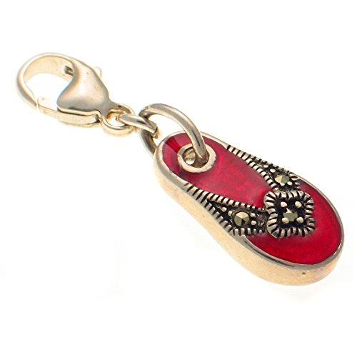 In argento Sterling 925e smalto rosso Marcasite Sandal clip on