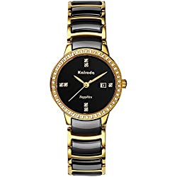 diamond ceramic female form/Waterproof quartz watches/Business casual watches-A