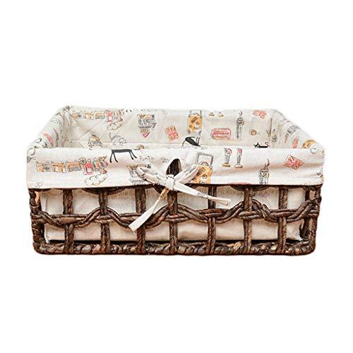 Unbekannt Ablagekorb Rattan Ablagekorb Stroh Stroh Mais Woven Basket Küchenabfälle Box Snack Stoff SHANCL (Color : Brown, Size : M) -