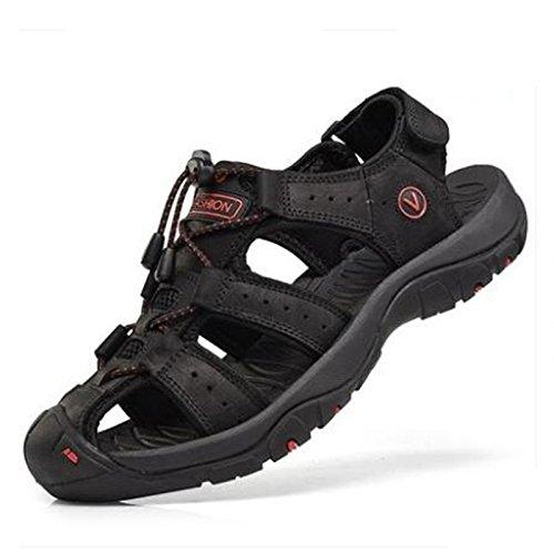 Sandali Sportivi Estivi Scarpe da Spiaggia per Uomo all'aperto Scarpe Casual da Pescatore in Pelle Sandalo da Acqua Traspirante Coreano,Nero,EU47