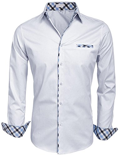 HOTOUCH Herren Hemd Baumwolle Langarmhemd Slim Fit Freizeithemd Bügelleicht, 1-weiß, M