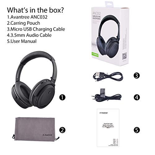 Avantree ANC032 Bluetooth 4.1 Active Noise Cancelling Kopfhörer mit Mikrofon, Wireless Wired Superleicht Komfortabel Klappbar Stereo ANC Over Ear Headset für Handys PC TV - 7