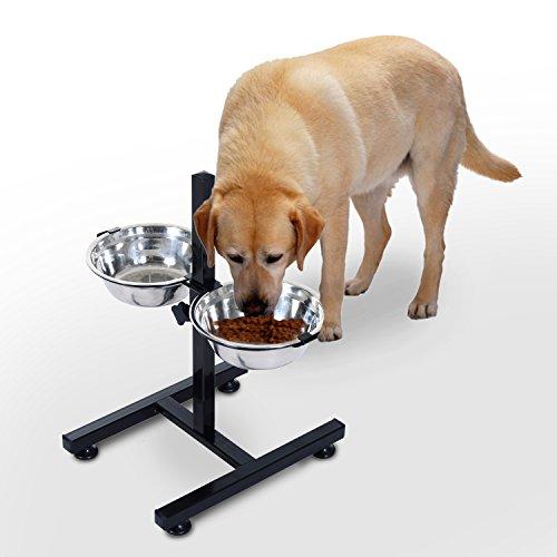pawhut-pet-feeder-stainless-steel-2-dog-feeding-bowls-height-adjustable-holder-cat-kitten-puppy-food