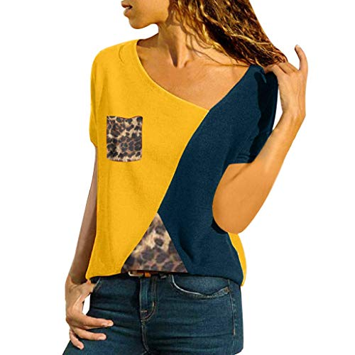 CixNy Damen Diverse T Shirts, Kurzarm Bluse Camisole Trägershirts Sommer Crop Vest Weste Oberteil Color O-Neck Casual Short Sleeved Patchwork Striped Tops ()