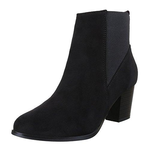 Damen Schuhe, F47, STIEFELETTEN STRETCH BOOTS Schwarz