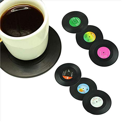 Richovernight 6 Pcs/Set Home Table Cup Mat Creative Decor Coffee Drink Placemat Tableware Spining Retro Vinyl Cd Record Drinks Coasters
