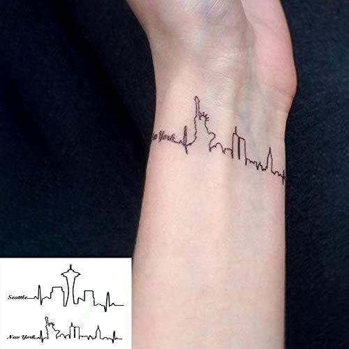 TLKXTX Wasserdicht Temporäre Tätowierung Aufkleber Seattle New York Chicago Skyline Einfache Linie Streifen Flash Tatoo Fake Tatto Für Frauen (Kostüm Seattle)