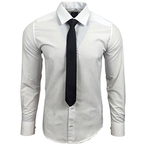 Rusty Neal R-55-KR Herren Slim Fit Uni Hemd Business Hemden mit Krawatte Hochzeit Freizeit, Farbe:Weiß;Größe:2XL