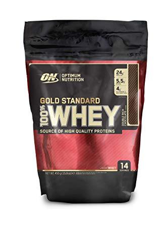 Optimum Nutrition Gold Standard Whey Protein Pulver (mit Glutamin und Aminosäuren. Eiweisspulver von ON) Double Rich Chocolate, 14 Portionen, 450g