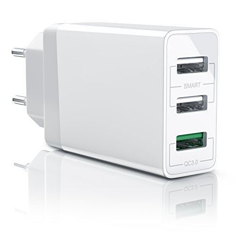 Aplic - 30w caricabatterie da muro | quick charge 3.0 alimentatore parete usb con 3 porte | adattatore di ricarica rapida | tecnologia smart charge | caricatore usb per samsung galaxy s8 / s8+ / note 8, lg g5 / g6, nexus 5x / 6p, htc 10, iphone x / 8 / 8 plus, ipad pro / air ecc | bianco