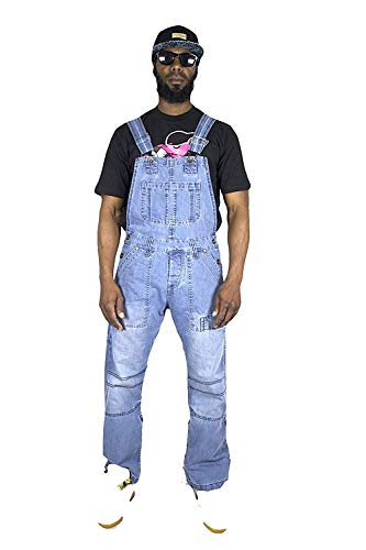 Peviani Combat Barra Jeans Hombres Peto, Hip Hop Designer Pijama Pijama Traje Indigo Bleu Clair délavé XL