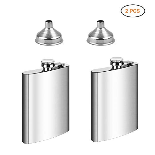 Yeaphy Portable 8oz Hip Flask Funnel Set,304 Food Grade Stainless Steel Hip Flask,Pocket Flagon,Camping Wine Pot,Great for Travel Cruise Hiking Boating Flask Pots