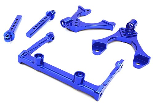 Integy RC Model Hop-ups OBM-BR233011BLUE CNC Machined Front Chassis Brace, Shock Tower & Body Post Kit for Axial SCX-10 (Post Brace Kit)