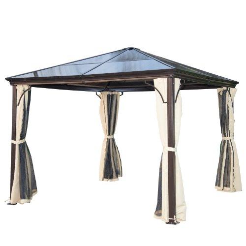 Outsunny® Luxus Pavillon Gartenpavillon Alu Partyzelt Gartenzelt mit lichtdurchlässigem PC Dach
