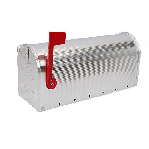 Cablematic US Mail Briefkasten für Post aus Aluminium, Design: amerikanischer Briefkasten, Farbe Silber