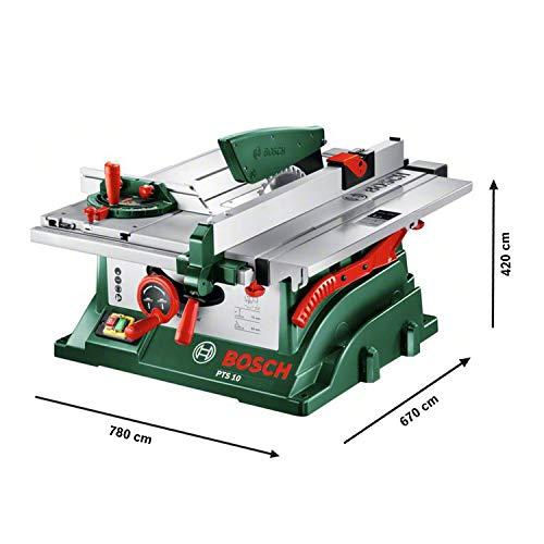 Bosch DIY Tischkreissäge PTS 10, Spaltkeil, Tischverlängerung, Winkelanschlag, Absaugschlauch, Karton (1400 W, Kreissägeblatt Nenn-Ø  254 mm, Schnitttiefe bei 90° 75 mm) - 3