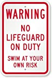 Warnung,: keine Lifeguard On Duty, Swim at your own risk Schild, 45,7 x 30,5 cm