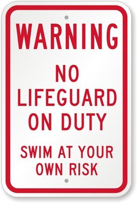 Warnung,: keine Lifeguard On Duty, Swim at your own risk Schild, 45,7x 30,5cm
