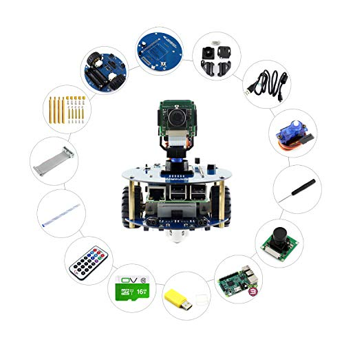 Alphabot2 Robot Building Kit For Raspberry Pi 3 Model B, Includes RPi 3 B, Alphabot2-Base Substrate, Alphabot2-Pi Adapter Board and Camera, Achieves Obstacle Avoidance, Tracking, Video Surveillance. Surveillance-tracking
