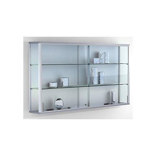 Wandvitrine, BxTxH 1500x200x800 mm, Aluprofile, 2 Glasböden, Schiebetüren, Zylinderschloss -