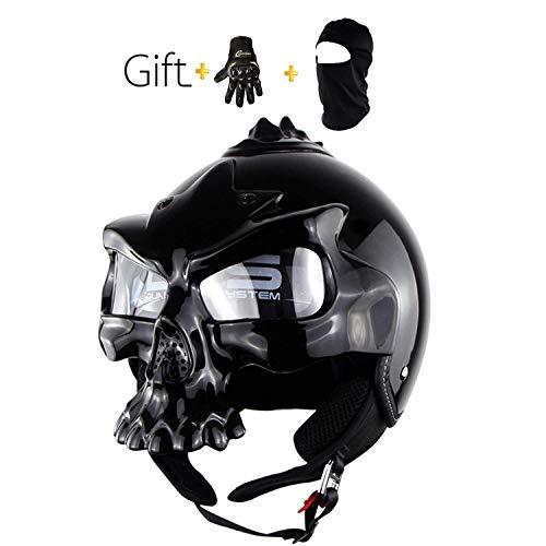 QYTX Sommer Kind Motorrad Helm, Schädel Halb Helm Cool Adult Motorrad Helm, DOT, CNS, ABN Sicherheitszertifizierung, 4 Farben erhältlich