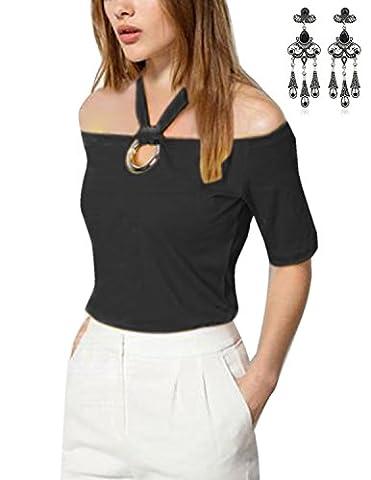 Modetrend Femmes T Shirt Manches Longues Halter Off Epaule Tee-shirt Hauts Blouse Tops