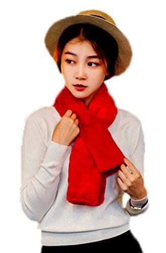Smile YKK Femme Echarpe Châle Foulard Imité Angora Doux Epaissir de chaud Rouge