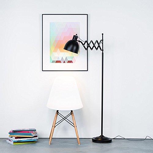 Lámpara de pie de diseño retro con articulación de tijera y cable de tela, color negro mate, interruptor de pie, altura de 150 cm, 1 bombilla E27 de máximo 40 W, metálica