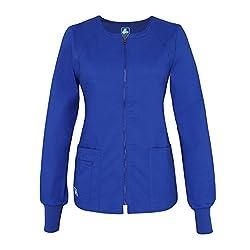 Adar Medical Uniforms Pop-stretch Junior Fit Zip Front Warm Up Scrub Jacket Hospital Doctors Workwear - 3216 - Royal Blue - Xxs