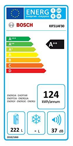 Bosch KIF51AF30 Serie 8 Mini-Kühlschrank / A++ / 139,7 cm Höhe / 124 kWh/Jahr / 222 L Kühlteil / LED Beleuchtung -