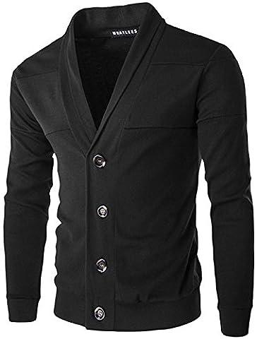 Whatlees Unisex Hip Hop Urban Basic Cardigan Button Down Zip up Slim avec une encoche contrast¨¦e B195-Black-L