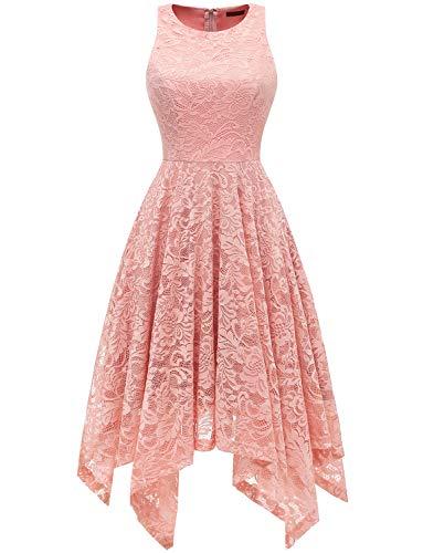 bridesmay Damen Elegant Spitzenkleid Knielang unregelmäßig Zipfel Kleid Cocktailkleid Abendkleider Blush L