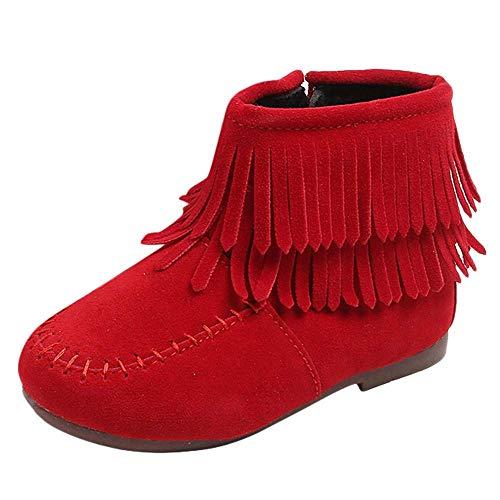 Kinder Baby Mädchen Schuhe, Mode Feste Flock Wasserdichte Schuhe Nette Quaste Martin Stiefel Rutschfeste Reißverschluss Baby Freizeitschuhe Winter Fringe Schnee Stiefel ()