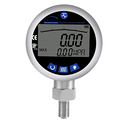 Akozon Digital Hydraulik Manometer SUS304 Edelstahl Hydraulisches Manometer Tester 0-400BAR, 0-40Mpa,0-10000PSI mit G1/4 Stecker-Mpa - Kpa,PSI,Kgf/cm²-Wasser, Gas, Öl Tester