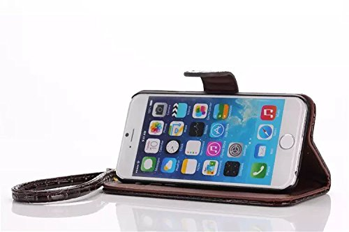 Best Choise coccodrillo Pattern PU Pelle Flip Case per iPhone 6 Plus e 6S Plus orizzontali Stand Folio Wallet Holster copertura con Lanyard in grande qualità marrone
