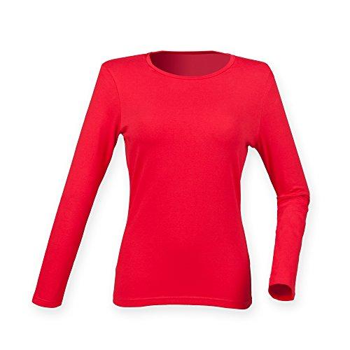 Skinni Fit Damen Feel Good Stretch T-Shirt, langärmlig Signalrot