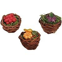 BERTONI - Cesta de Mimbre con Frutas y Verduras, 6 Modelos Surtidos, Madera,