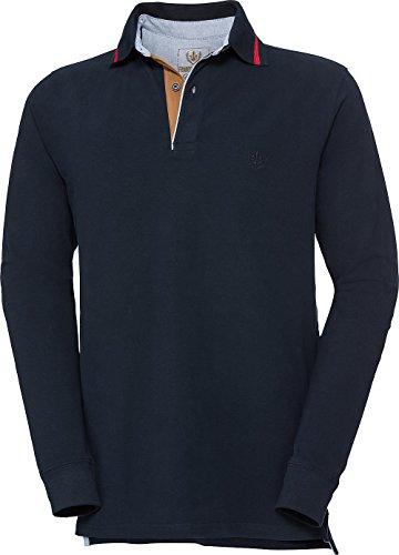 Franco Bettoni Herren Polohemd in Marine, Poloshirt für Männer, sportlich-Elegantes Langarm-Shirt mit V-Ausschnitt & Kragen, Herrenpullover, Gr. 48-60 -