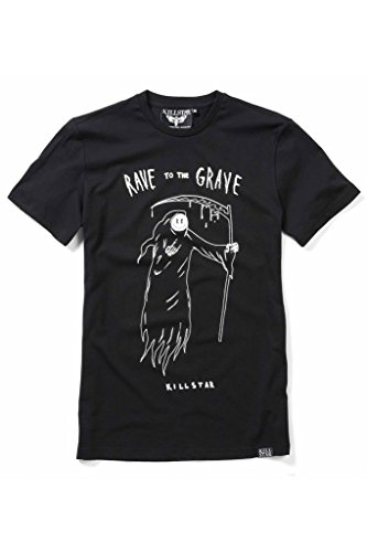 Killstar Herren T-Shirt Smiley Sensenmann - Rave to the Grave Mens Tee Schwarz