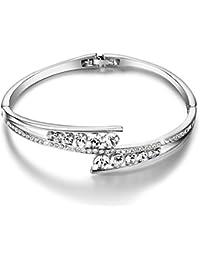 Menton Ezil Begegnung Mit Der Liebe 925 Sterling Silber Platin Verstellbare Damen Armband Kristallen von Swarovski Schmuck Geschenk-Box