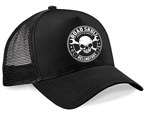 HELLMOTORS Road Skull Trucker Cap Hot Rod V8 Rockabilly Biker Oldschool Basecap US Car schwarz -