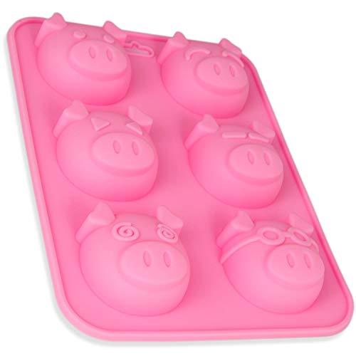 Silikonform Schweinchen, 6 große Schweine, Seifenform, Kerze, Sylvester, Backform, Eiswürfel, Muffin, Schokolade, Süßigkeit, Glücksbringer, Brownie, Pig, New-Year, Kuchen, Farbe: Rosa