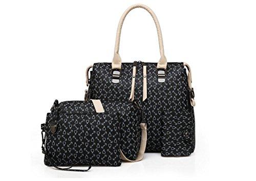 Rolicia Fashion Damen PU Leder Handtasche Messenger Bag Schultertasche Tote Bag Karte Geldbörse 4 Stück Set (4 Stück Leder-set)