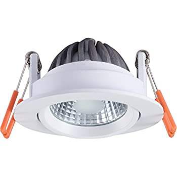White Bezel Included Aurora M7 LED Fire Rated Fixed Dimmable Downlight Cool White 4000k 60-65mm Cutout