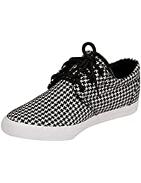 Hush Berry Mens Black & White Fabric Canvas Casual Shoes
