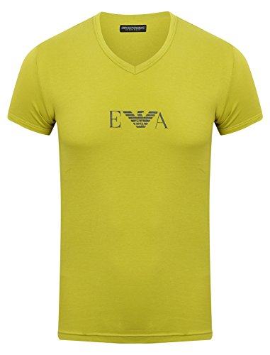 Emporio Armani T-Shirt V-neck mit großem EA Logo auf der Brust - Gelb, Kleidungsgröße:M (Blusen Damen V-neck-baumwolle)