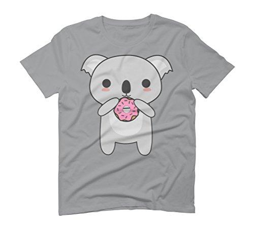 Kawaii Koala Eating A Donut Men's Graphic T-Shirt - Design By Humans Opal
