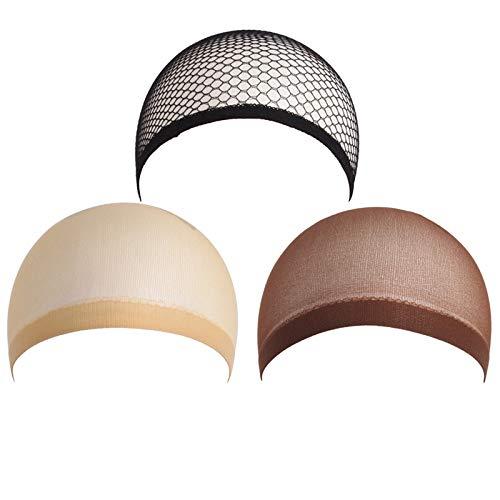 Cmylbaml Bonnet de Perruque 3 pièces (Filet Beige et Beige),#1