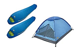 High Peak USA Alpinizmo 1 Monodome Tent & 2 Summit 20 Sleeping Bags Combo Set, Regular, Blue from High Peak USA