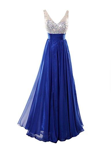 Dresstells, Robe de soirée de mariage Robe de cérémonie pailletée col en V Bleu Saphir